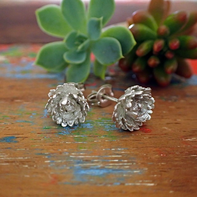 Frilly Succulent Studs Silver