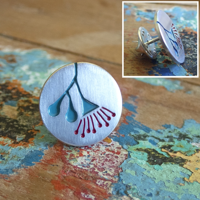 Flowering Gum Pin Teal and Red