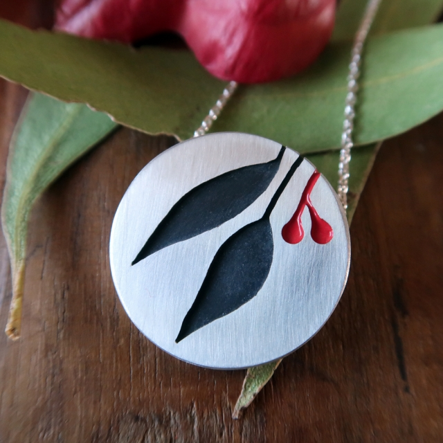Large Gum Leaf Pendant with Red Gumnuts2