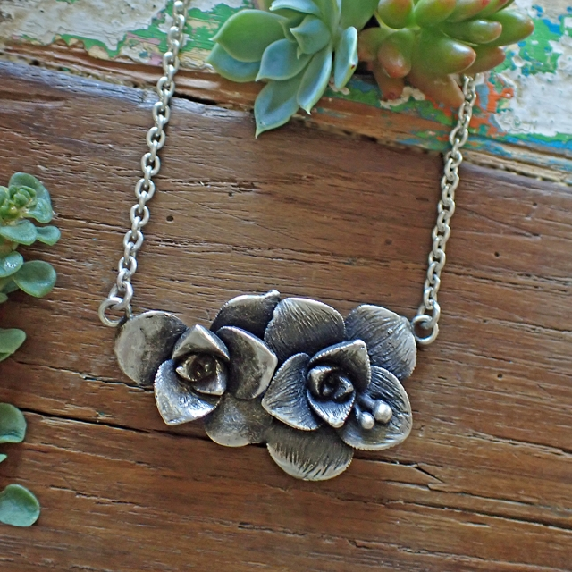 Pair of Succulents Necklace
