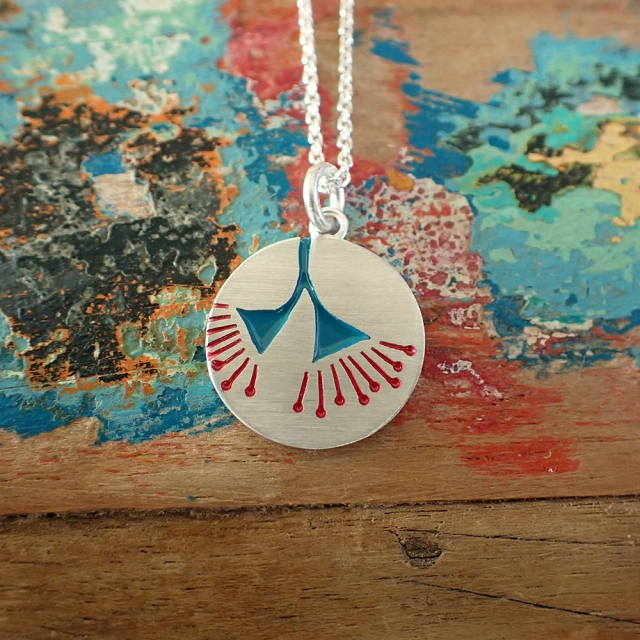 Petite Eucalyptus Blossom Pendant in Teal and Red