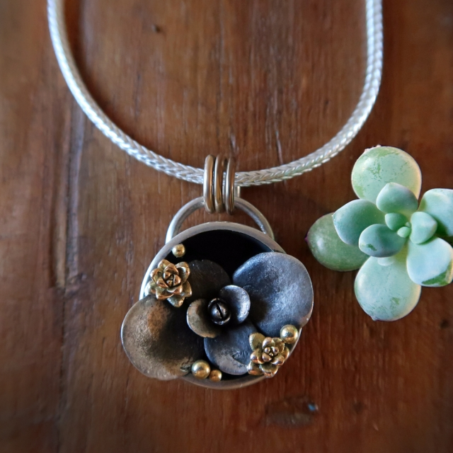 Pot Plant Pendant with Gold Accents