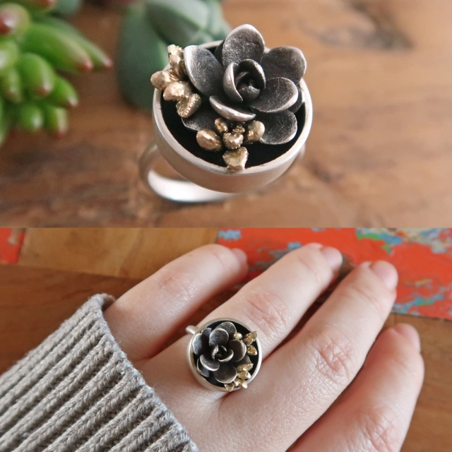 Pot Plant Ring with Gold