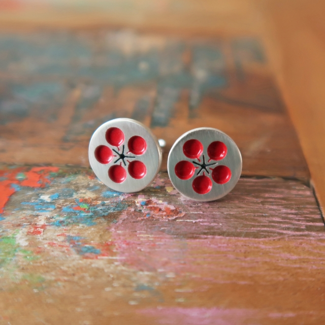 Red Plum Blossom Studs